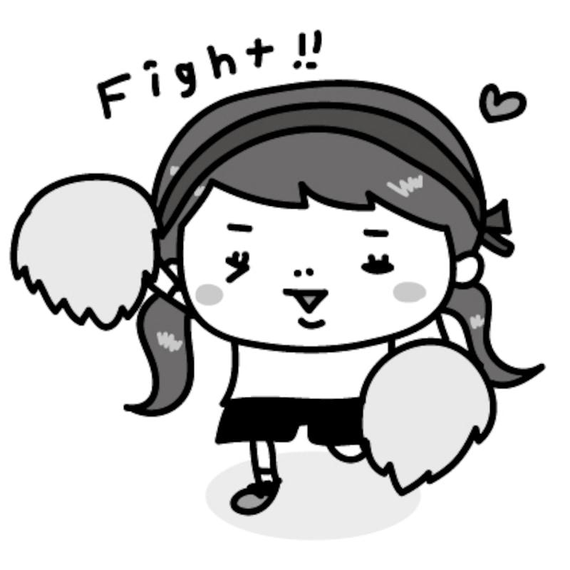 女の子 運動会 イラスト 白黒 かわいい