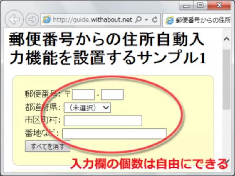 郵便番号から住所が自動補完される入力フォームは、好きなようにHTMLで作ったものが使える
