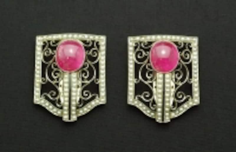 ピンクトルマリンと真珠のクリップ