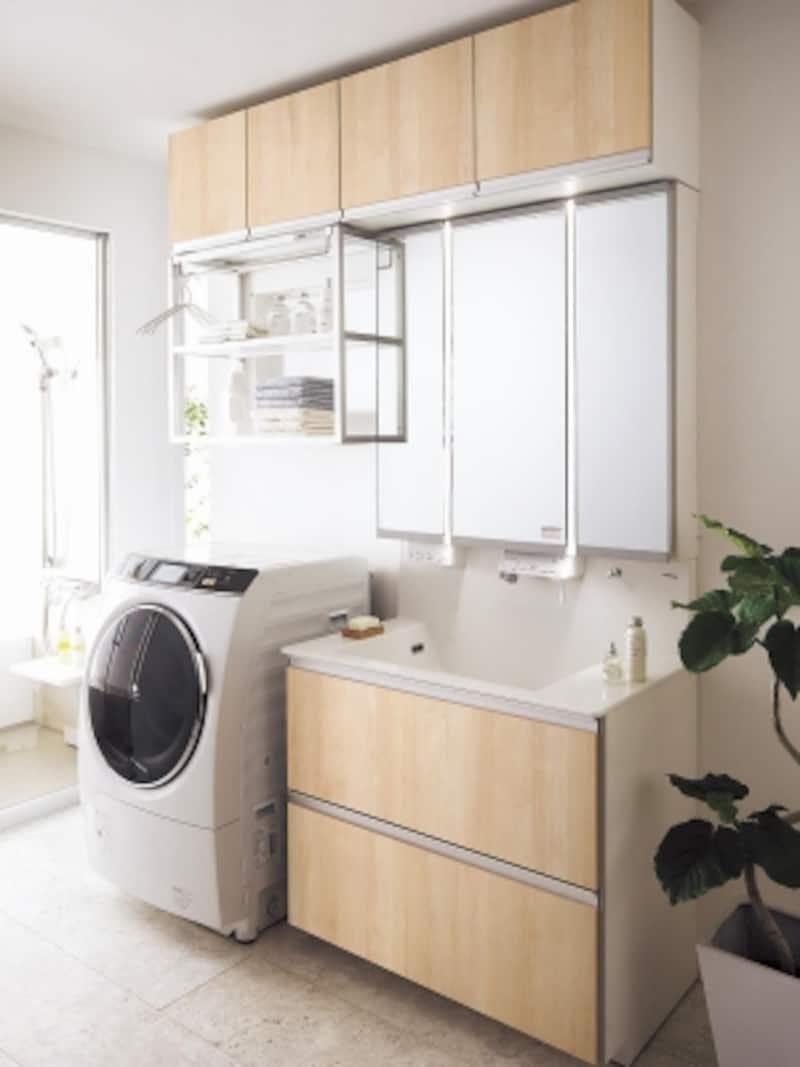 幅90cmの洗面台と洗濯機