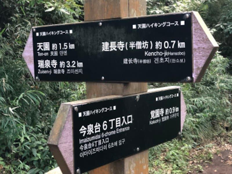 覚園寺方面への分岐点に設置されている道標。天園ハイキングコースは、新しい道標が設置され、分かりやすくなった