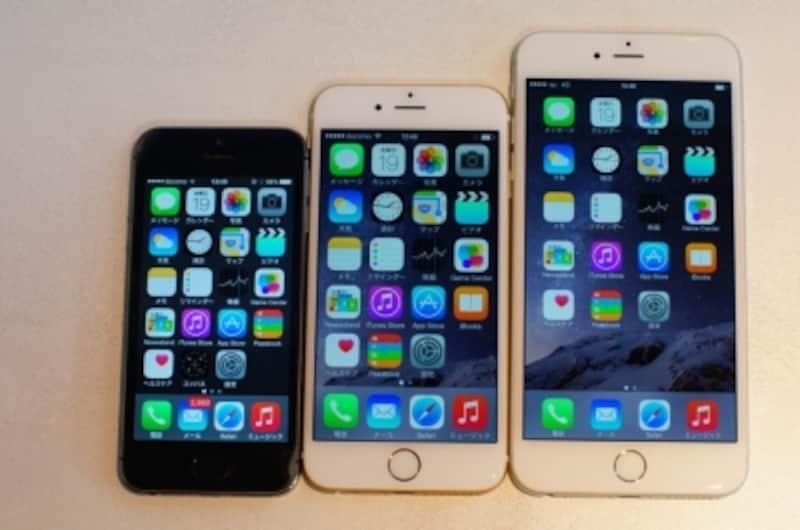 iPhone5s、iPhone6、iPhone6Plusを並べてみました