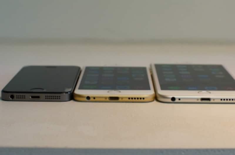 左からiPhone5s、iPhone6、iPhone6s