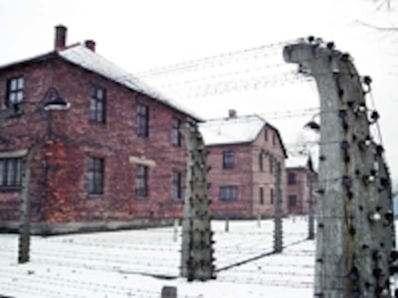 第一収容所の鉄条網と収容棟。鉄条網には常時高圧電流が流されており、感電自殺する者も少なくなかった©牧哲雄