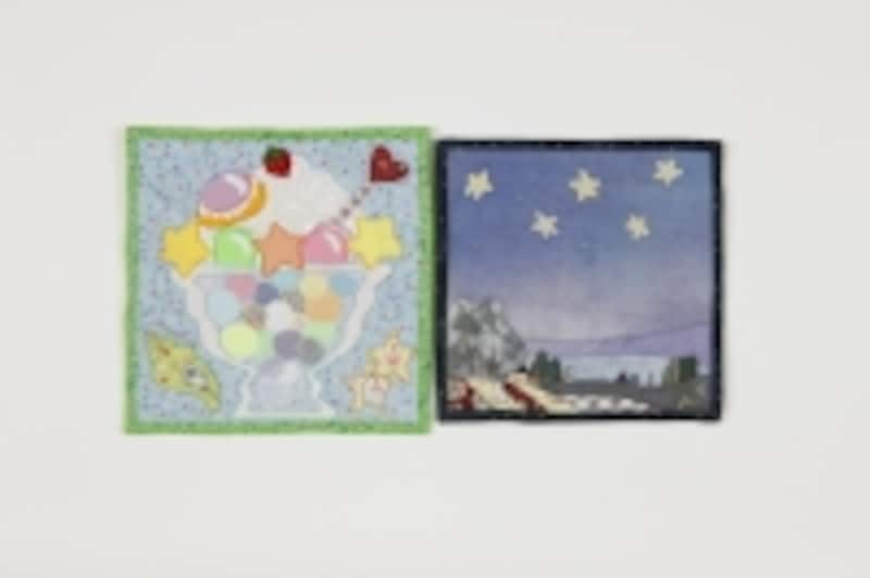 星のチャレンジキルトの応募作品。絵のような表現。左undefined山室富士子undefined右undefined田中眞知子