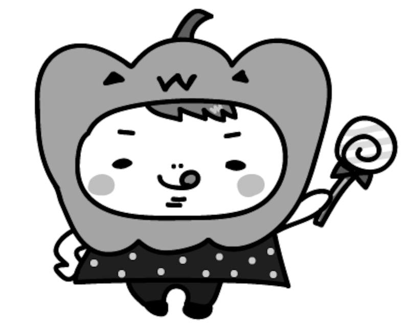 男の子 ハロウィン イラスト 白黒 かわいい