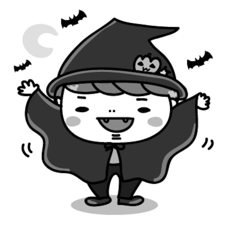 ドラキュラ 男の子 ハロウィン イラスト 白黒 かわいい