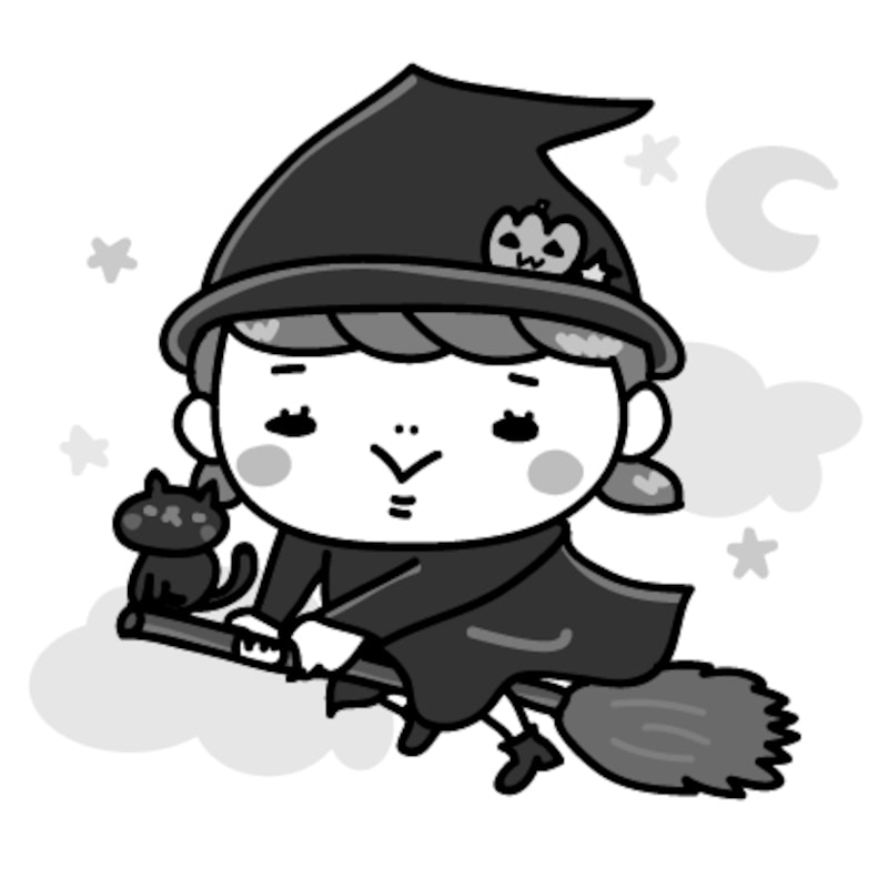 魔女 女の子 ハロウィン イラスト 白黒 かわいい