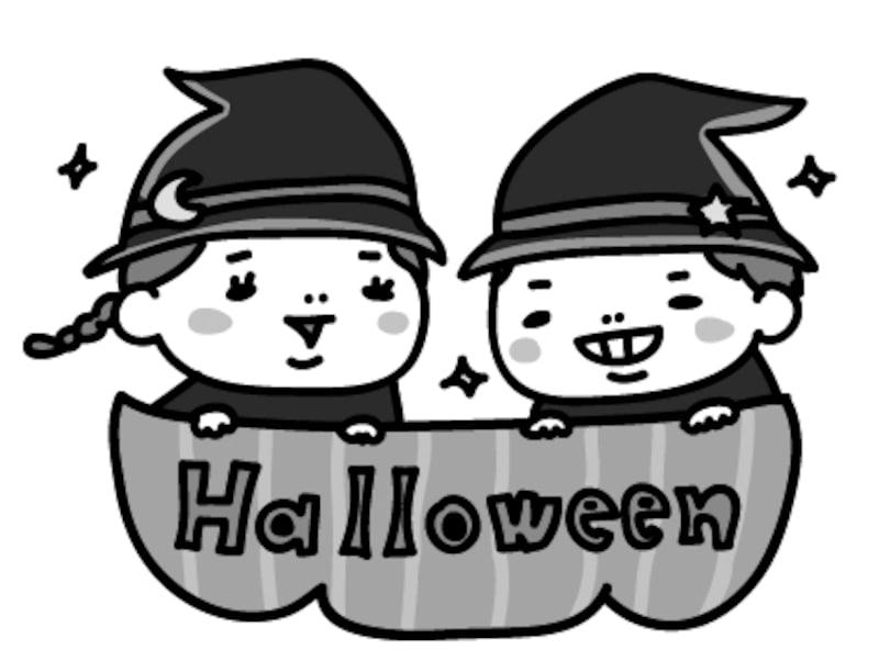 女の子と男の子 ハロウィン イラスト 白黒 かわいい