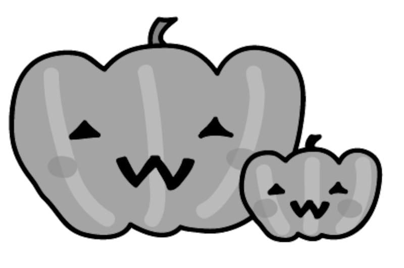 かぼちゃ ハロウィン イラスト 白黒 かわいい