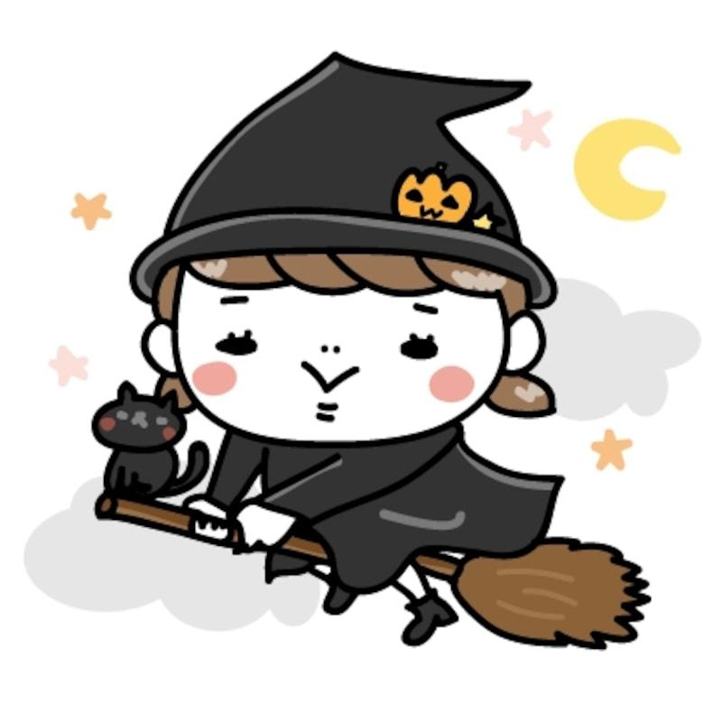 魔女 女の子 ハロウィン イラスト カラー かわいい
