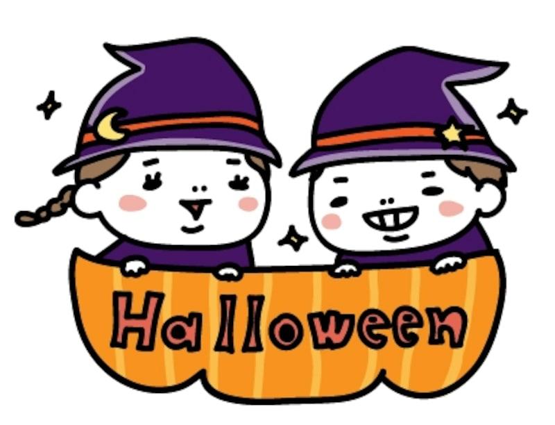 【女の子と男の子 ハロウィン イラスト カラー かわいい