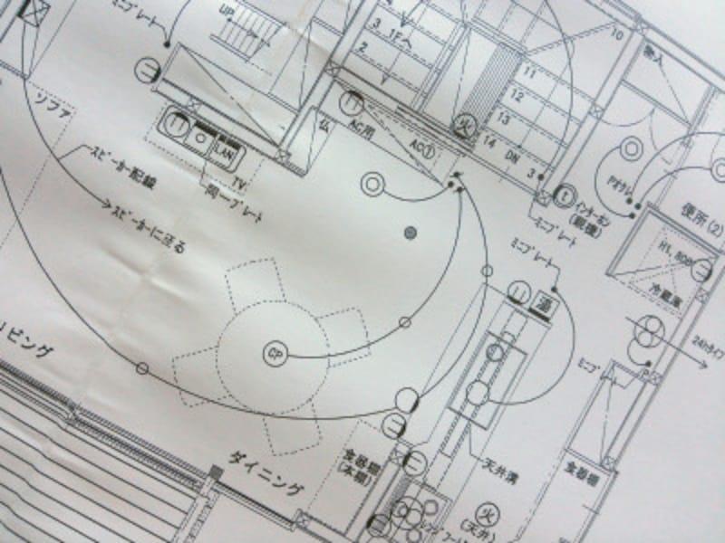 電気配線図をチェックする際には、細かな記号を見落とさないように。家具の位置などに注意して。(写真はイメージ)