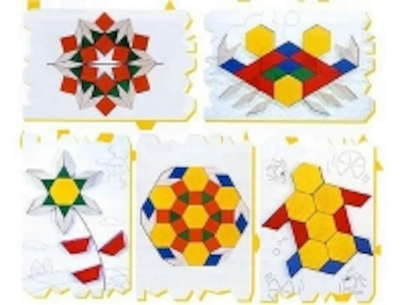 「パターンブロック」は三角形、四角形、平行四辺形、菱形、六角形の木製ピース