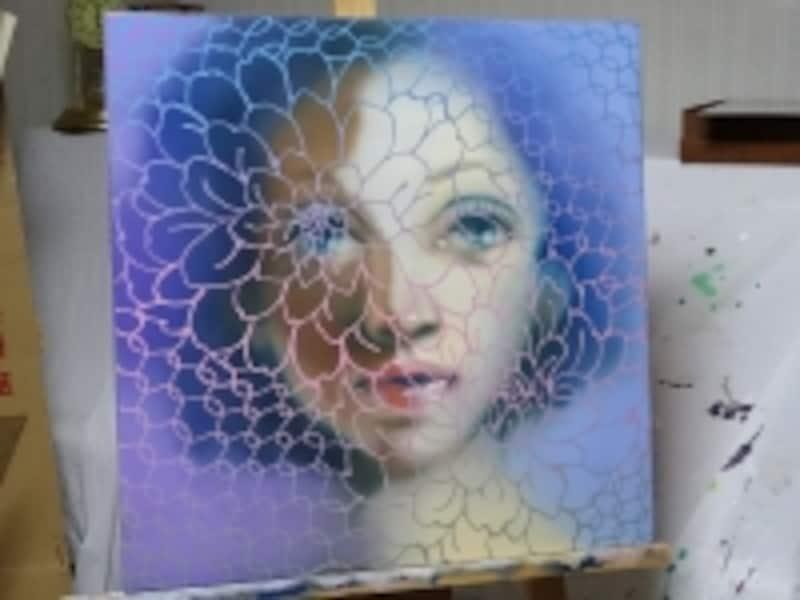 完成した作品undefined藤部恭代《ARABESQUE》undefined2014、oil,acrylic,canvas,530×530mm