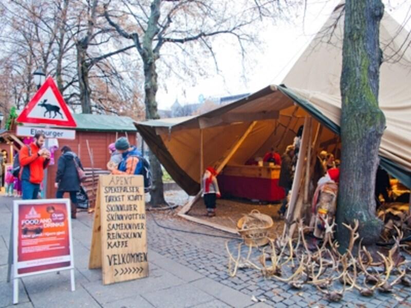 オスロ中心地のクリスマスマーケット