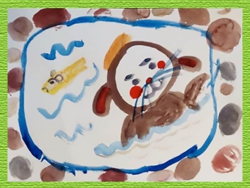 5歳児の作品『わんこの露天風呂』