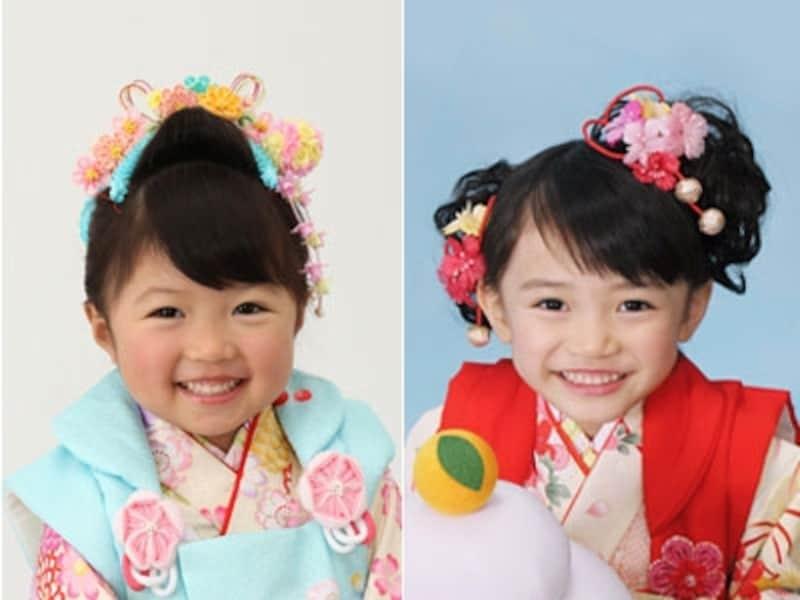 三歳女の子の七五三の髪型は、左画像のような日本髪にするなら毛量や体型に合わせてボリュームを抑えてすっきり仕上げるのがおすすめ。右画像のような2つ結びは、左右の髪の高さを変えることでキュートな仕上がりに!