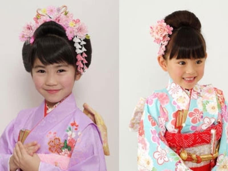 七歳の女の子の髪型の中でも左画像のような日本髪はいつの時代にも愛され続けるスタイル、右画像のようなおだんごスタイルも人気