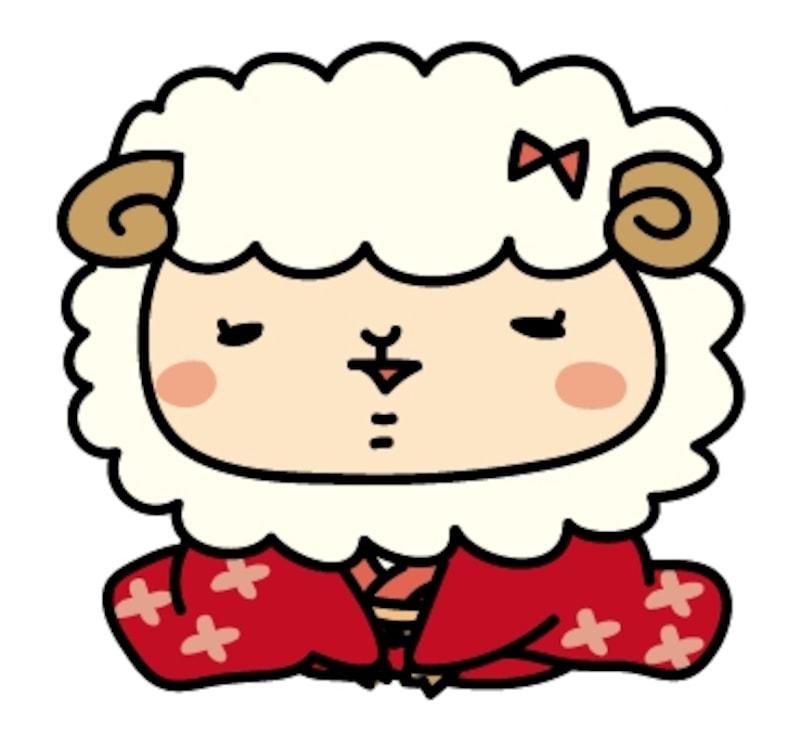 【カラー】着物を着た羊の女の子です。