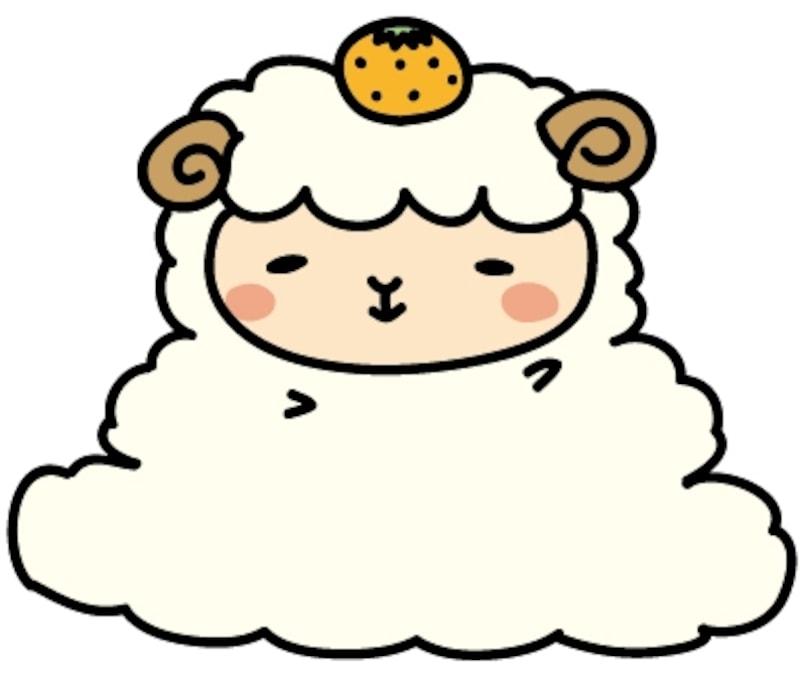 【カラー】鏡餅に扮した羊です。