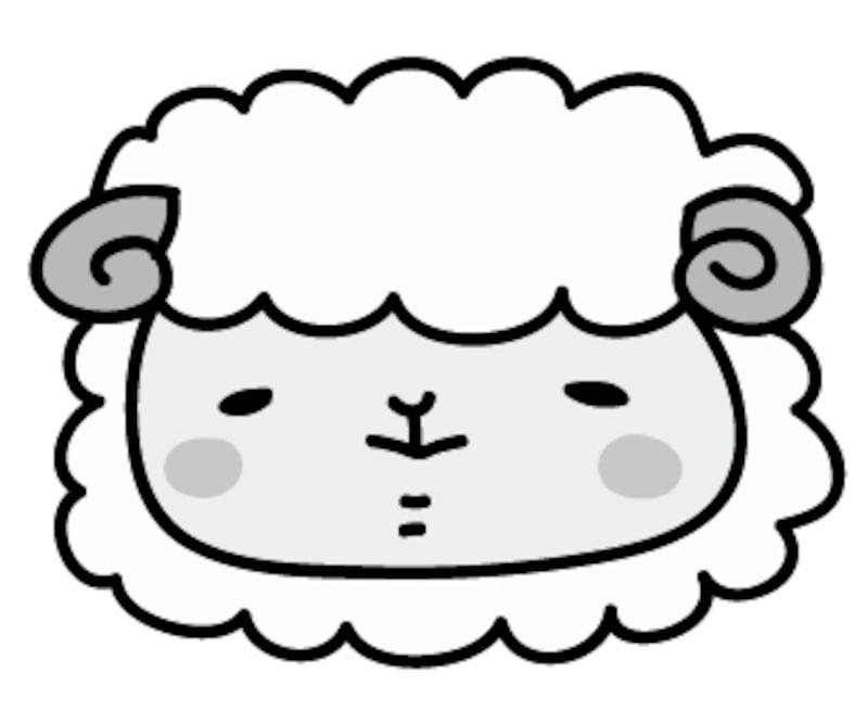 【モノクロ】羊の男の子です。