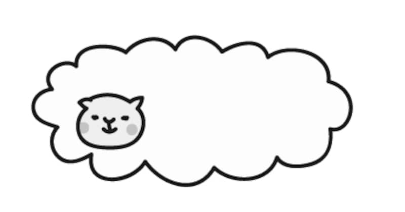 【モノクロ】羊雲風のもふもふ羊です。