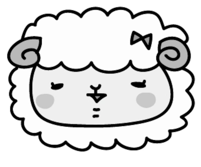 【モノクロ】羊の女の子です。
