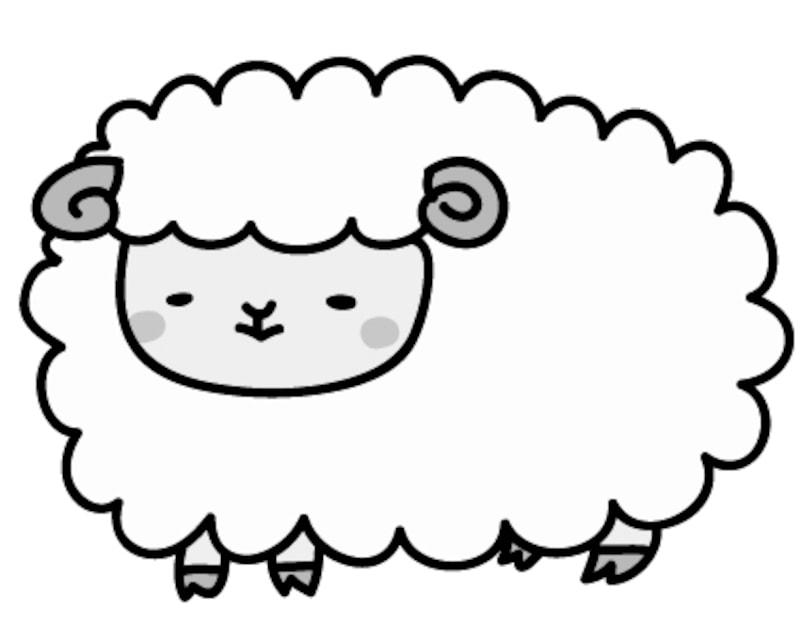 画像 1028 羊の可愛いイラストテンプレート白黒カラー Web