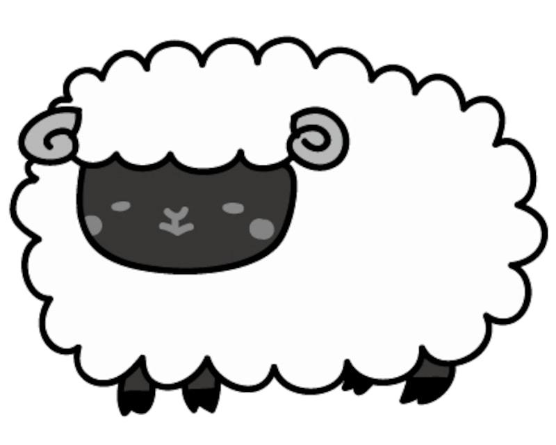【モノクロ】もふもふとした可愛い黒羊です。