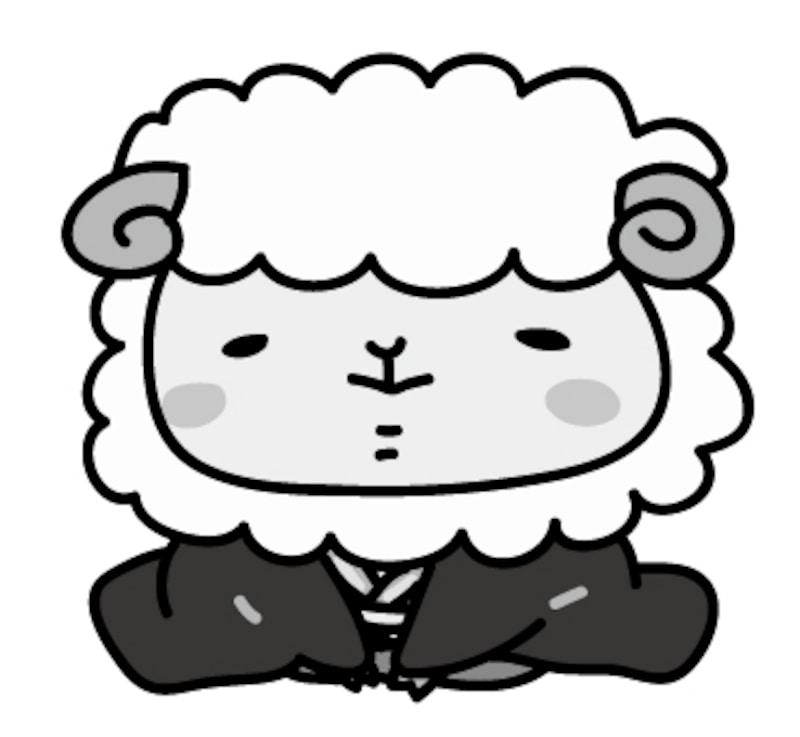 【モノクロ】袴を着た羊の男の子です。