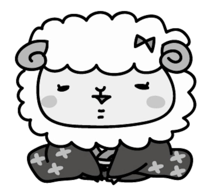 【モノクロ】着物を着た羊の女の子です。
