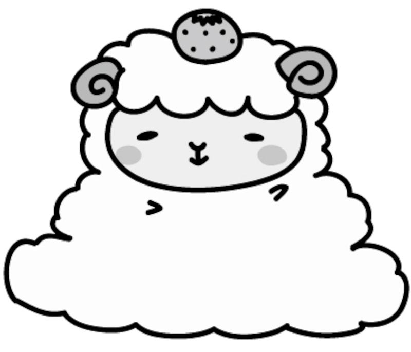 【モノクロ】鏡餅に扮した羊です。