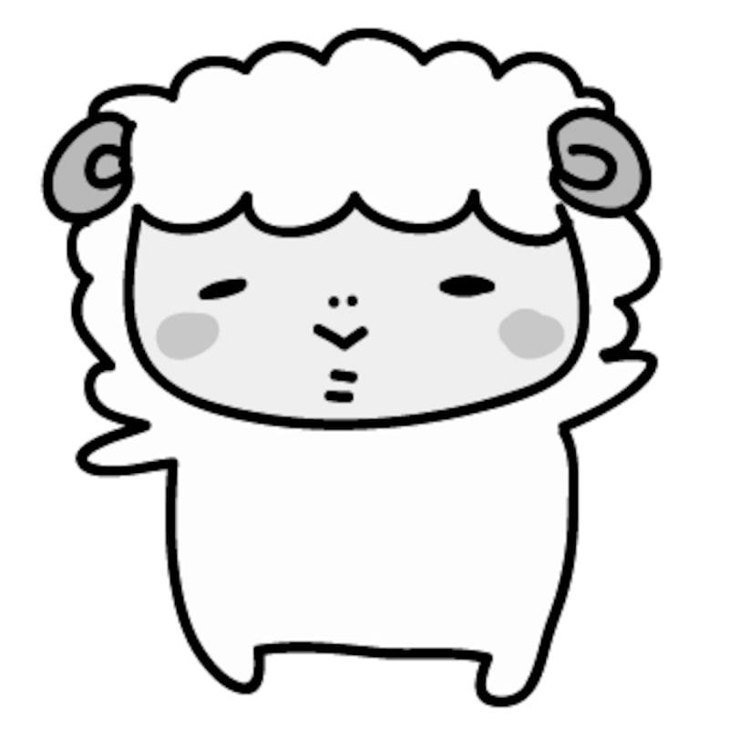【モノクロ】手を挙げて挨拶をする羊です。