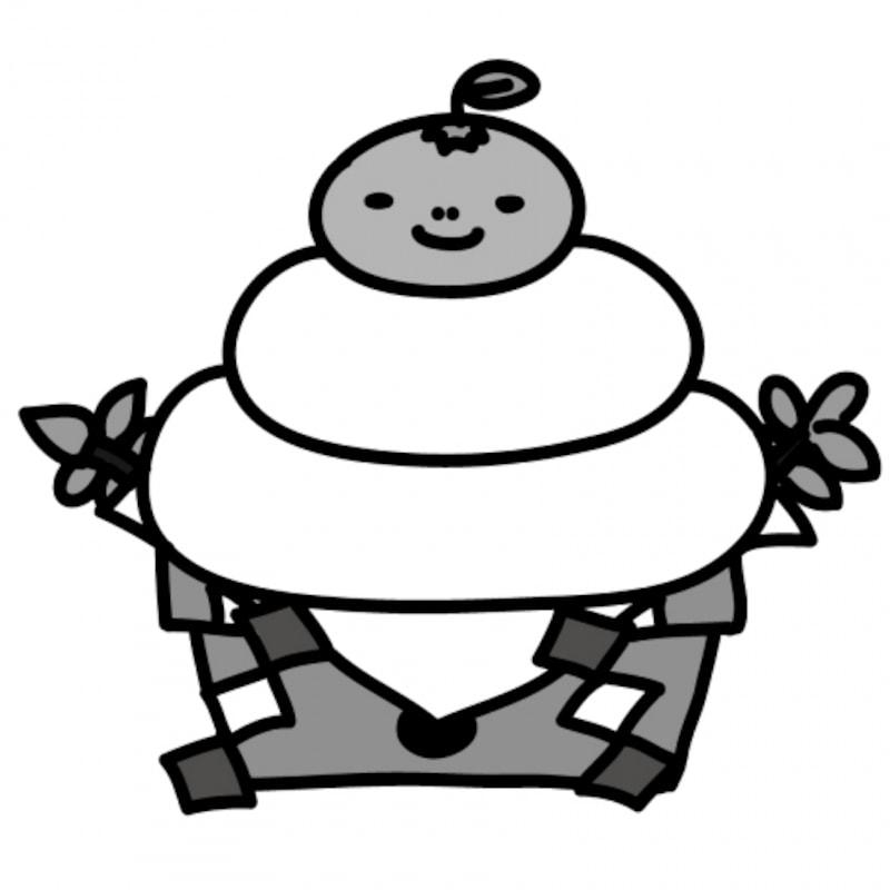 【モノクロ】お正月の定番モチーフ、鏡餅です。