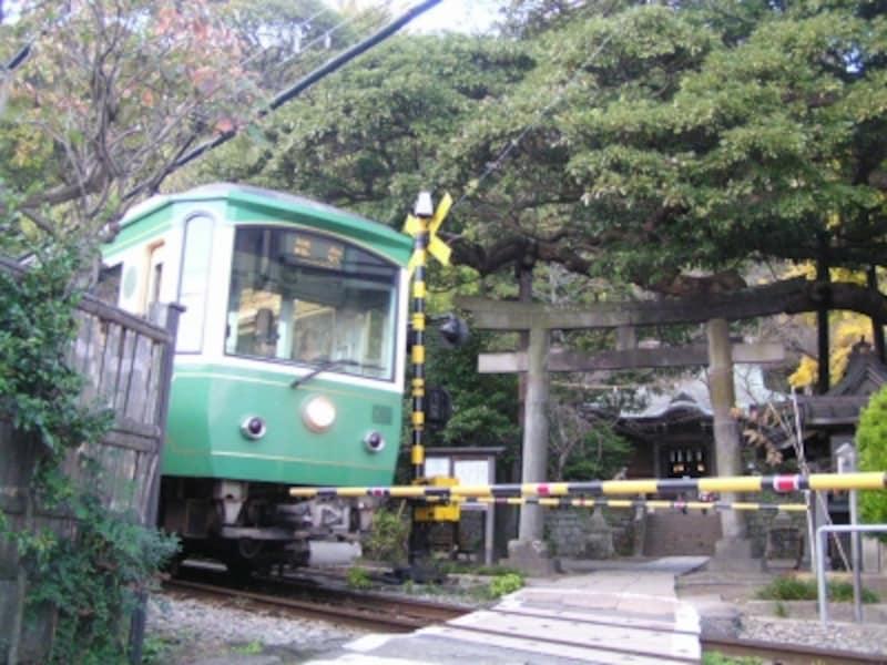 御霊神社のすぐ前を走る江ノ電