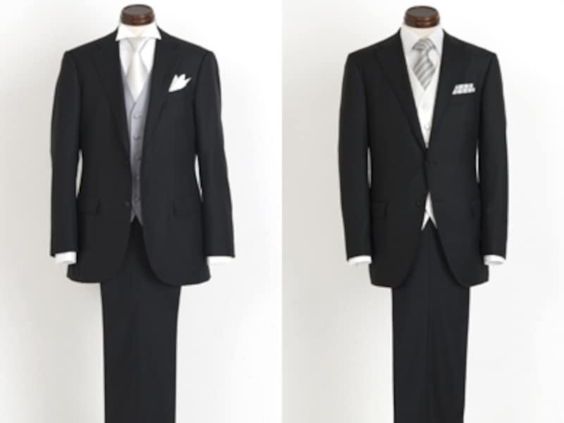 右:ウィングカラーにすると華やかさが増す。スーツはイセタンメンズundefined9万300円/左:サテンのネクタイで上品な印象に。スーツはタキザワシゲルundefined12万6600円