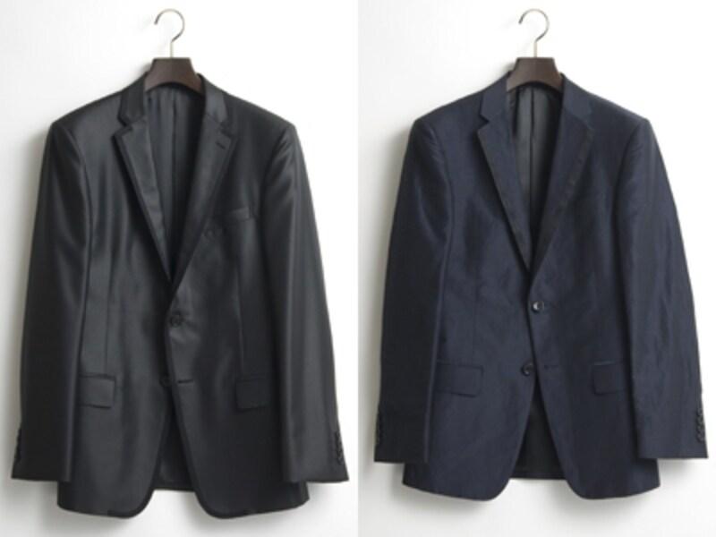 右:スーツはイセタンのパターンメイド仕様undefined12万1800円/左:スーツ11万1300円