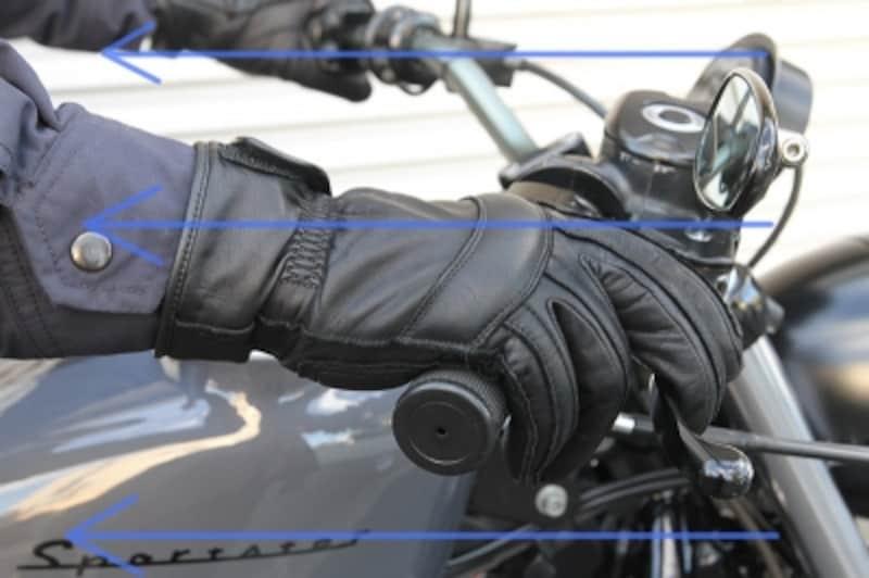 前から吹き付ける走行風が袖から入るだけで、体が一気に冷え込みます。そのためのグローブ選びも大事。