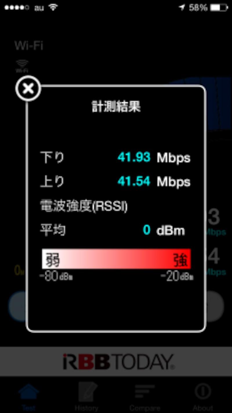 親機のすぐそばで11gの速度を測定。
