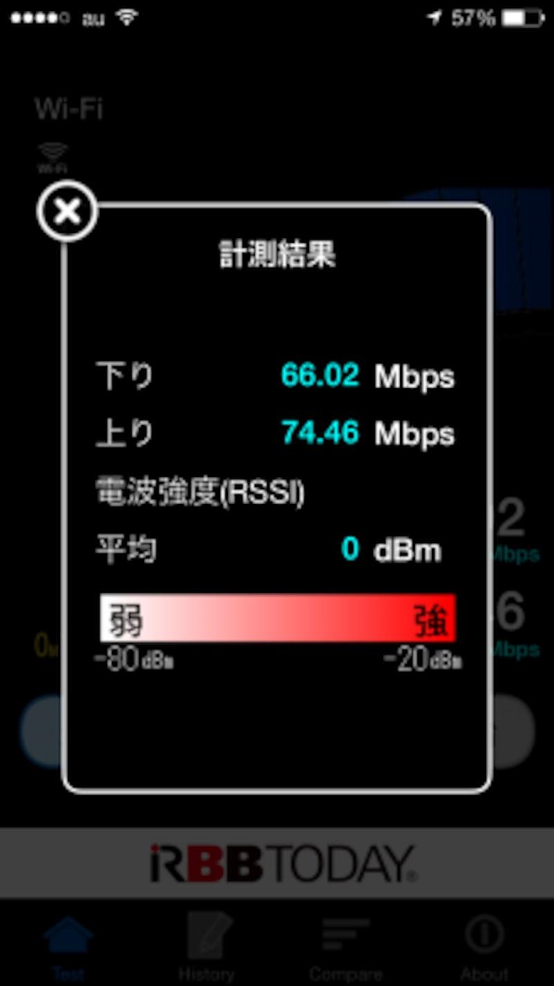 親機のすぐそばで11aの速度を測定。