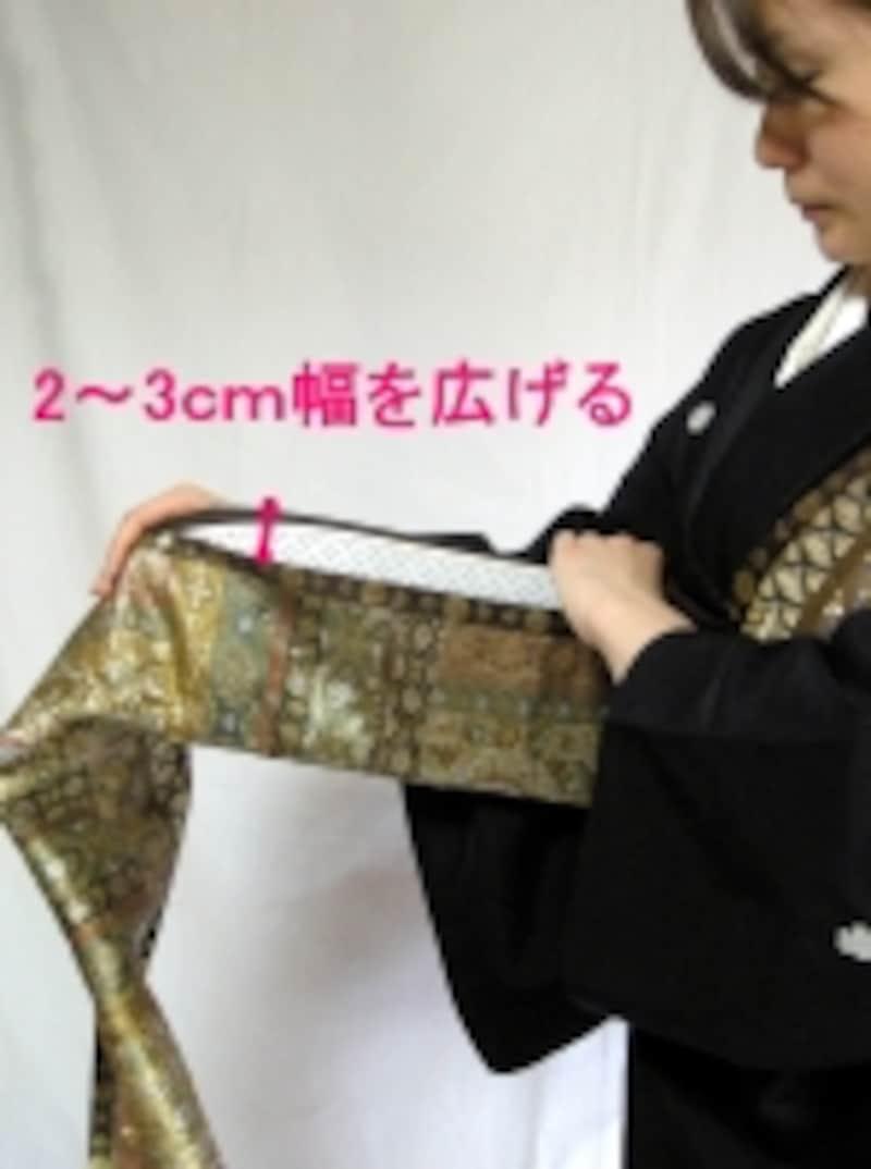 袋帯の時は帯板をふた巻き目に入れる