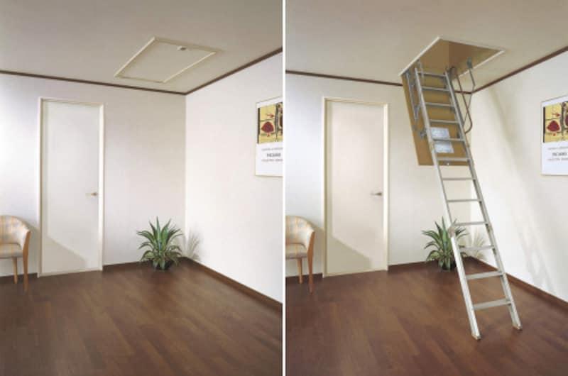 折りたたんで屋根裏に収納し、必要な時だけ引き降ろして使用できる。荷物を持っていても邪魔になりにくい片手摺は左右どちらでも設置可能。[スライドタラップ] DAIKENhttps://www.daiken.jp/