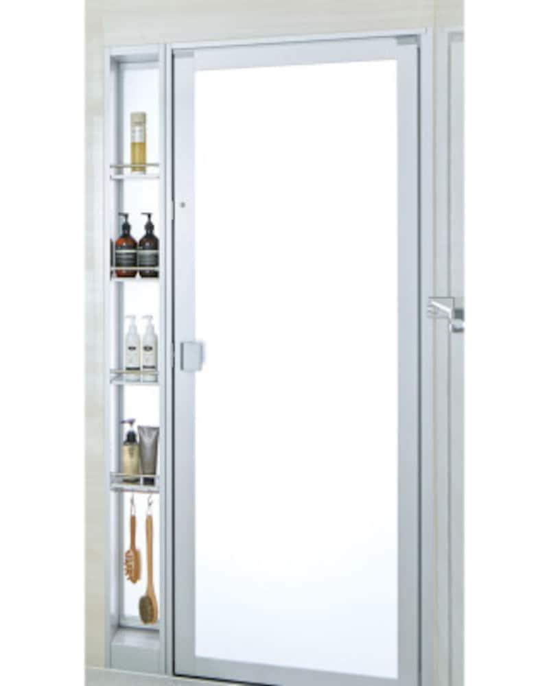 浴室で使用する細かなモノを収納することができるシステムバスのオプションアイテム。ドアと収納を一体化したもの。[INAXアライズ 間仕切りユニットトール収納タイプ] LIXIL http://www.lixil.co.jp/