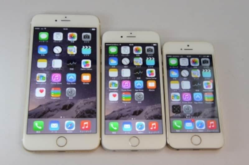左から5.5インチの「iPhone6Plus」、4.7インチの「iPhone6」、4インチの「iPhone5s」
