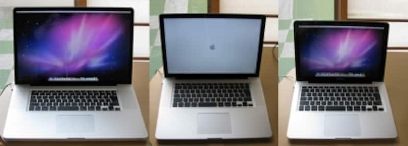 比べてみると思ったほどでかくない17インチ。MacBookProシリーズは本体が薄いため、他のWindowsパソコンより小さく感じます(クリックで拡大)