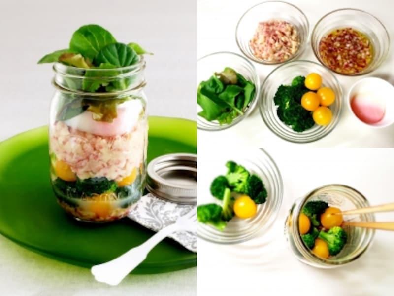 エッグスラット風!温泉卵とコンビーフマッシュポテトのサラダ