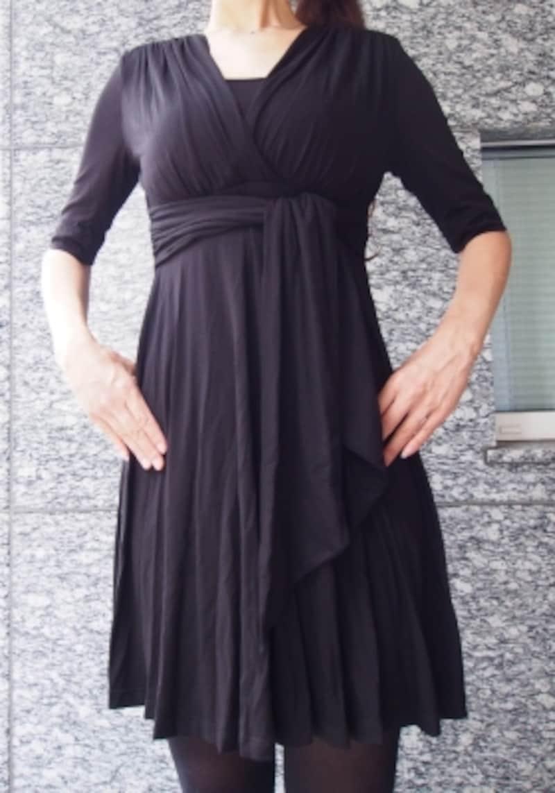 マターナルアメリカ/ナターシャフロントタイマタニティ&授乳ドレスブラック