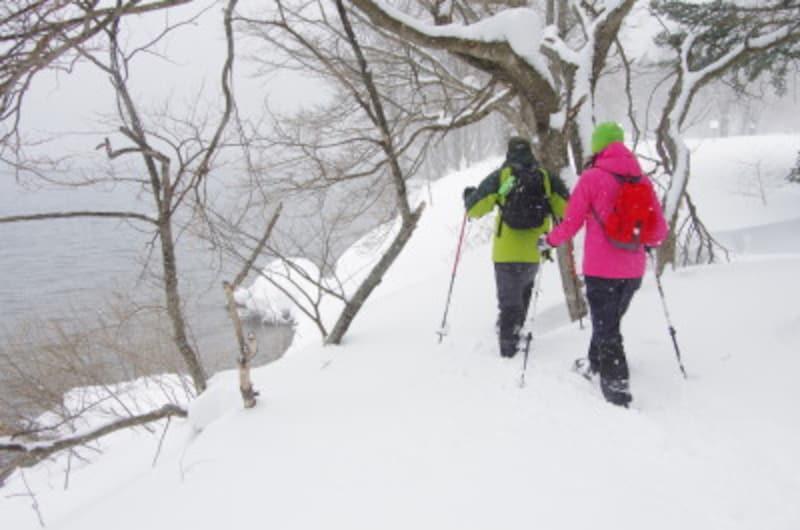 雪,スノーシュー,雪山,スキー,スノボ,冬,ウィンタースポーツ,爽快,滑走,ウェア,杖,散策,アクティビティ