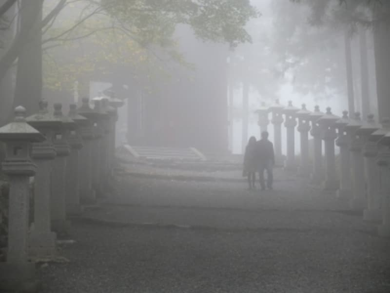 霧に包まれ、神秘的な三峯神社境内